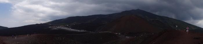 Roodbruine Etna gehuld in grijszwarte wolken