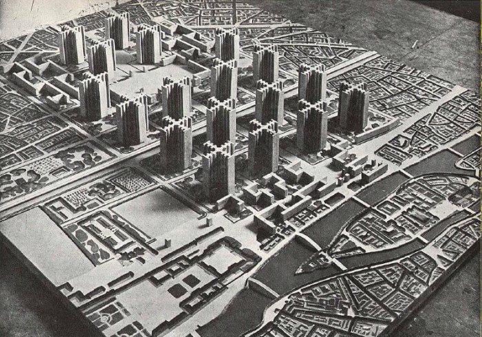 Maquette van het toekomstige Parijs volgens de plannen van Le Corbusier