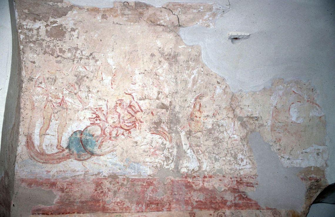 Vage tekening van een middeleeuws fresco