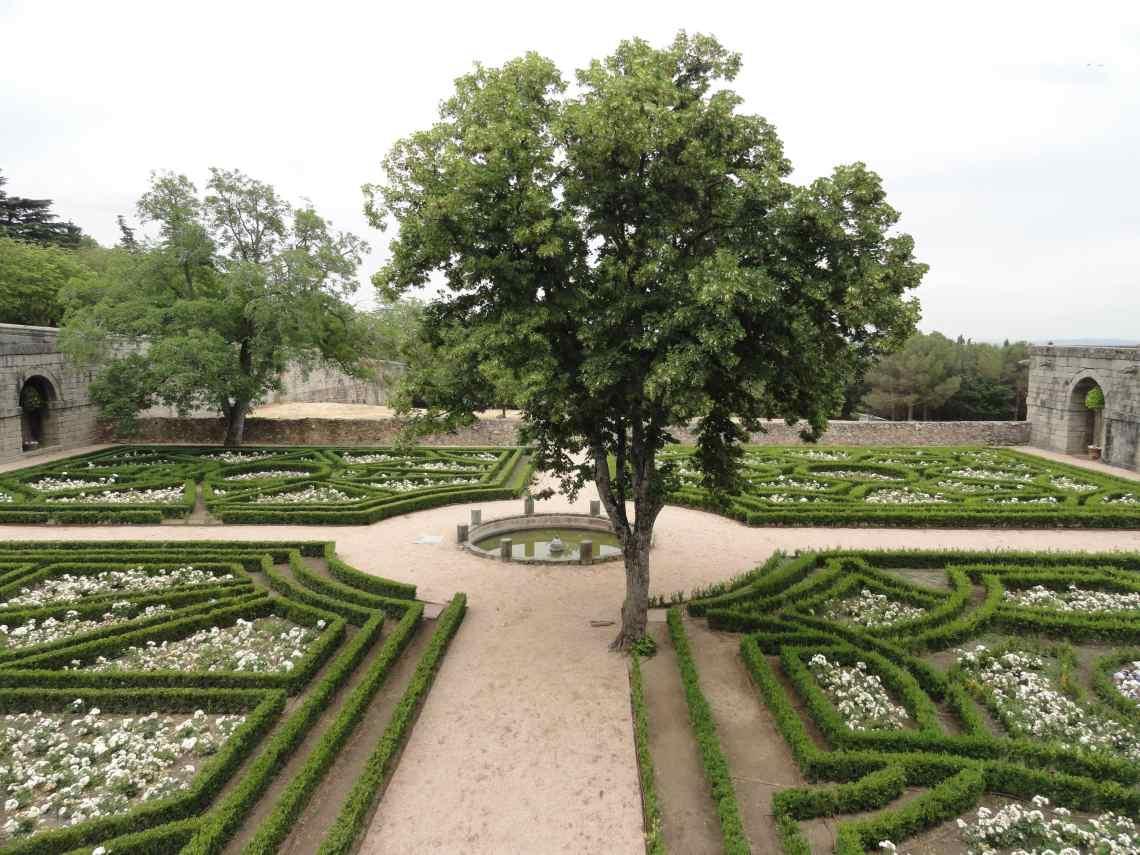 Buxushagen in fraaie vormen omzomen rond vijvertje