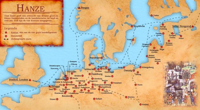 Map van belangrijkste reisroutes en Hanzesteden