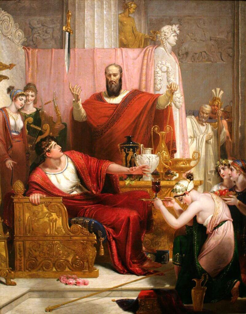 Domocles aan een rijk buffet met een bungelend zwaard boven zijn hoofd