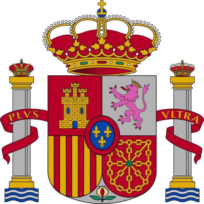 Wapen van Spanje. Naast het schild staan de Zuilen van Hercules