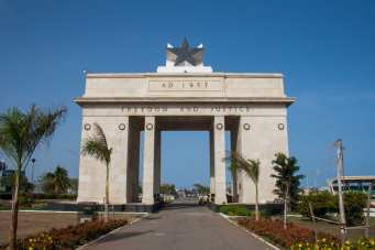 """""""Independence Arch"""" sits before Black Star Square on the Accra beachfront. It celebrates Ghana's independence from colonial Great Britain (Alec Cowan/Crossings Institute)."""