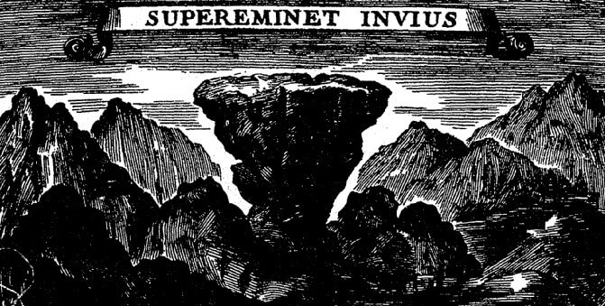 Ancienne gravure représentant le Mont Aiguille inscription Supereminet Invius