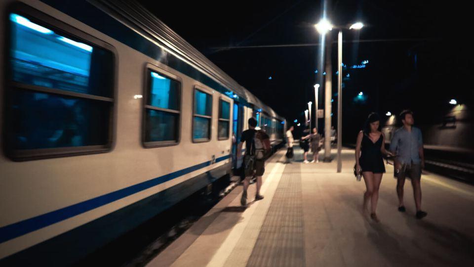 Train en gare de Riomagiorre, Cinque Terre