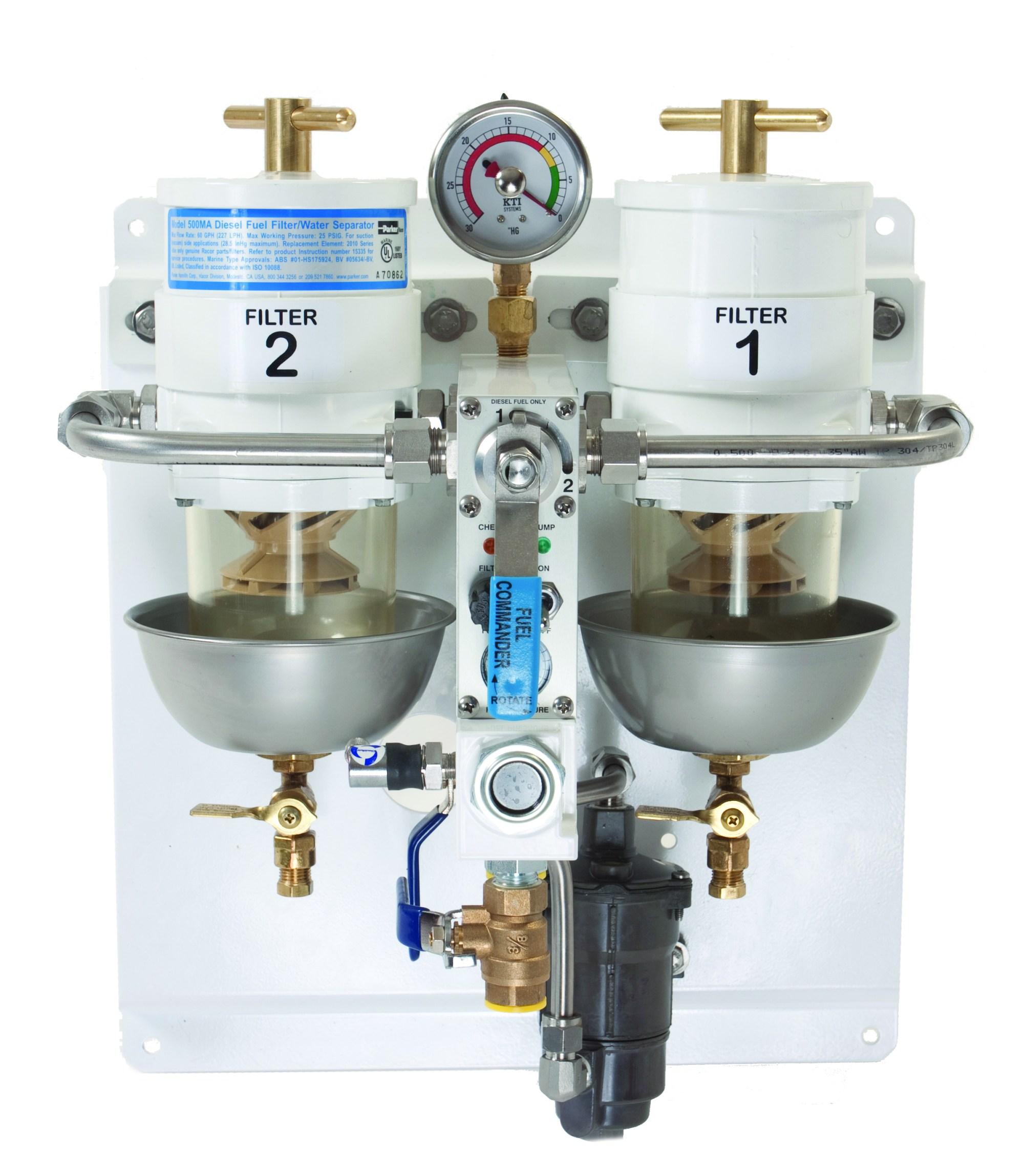 hight resolution of dual racor fuel filter from defender filterboss commander