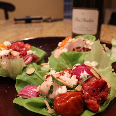 Grilled Strawberry, Tomato, and Chicken Wraps