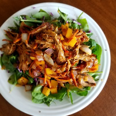 Sautéed Pepper, Red Onion, and Shredded Pork Salad