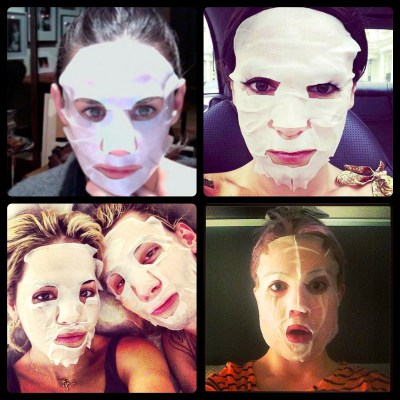Celebs wearing sheet beauty masks