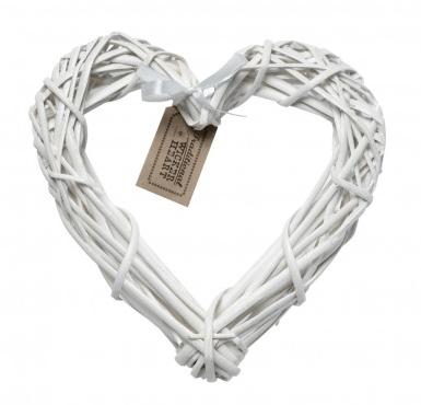 Small White Wicker Heart