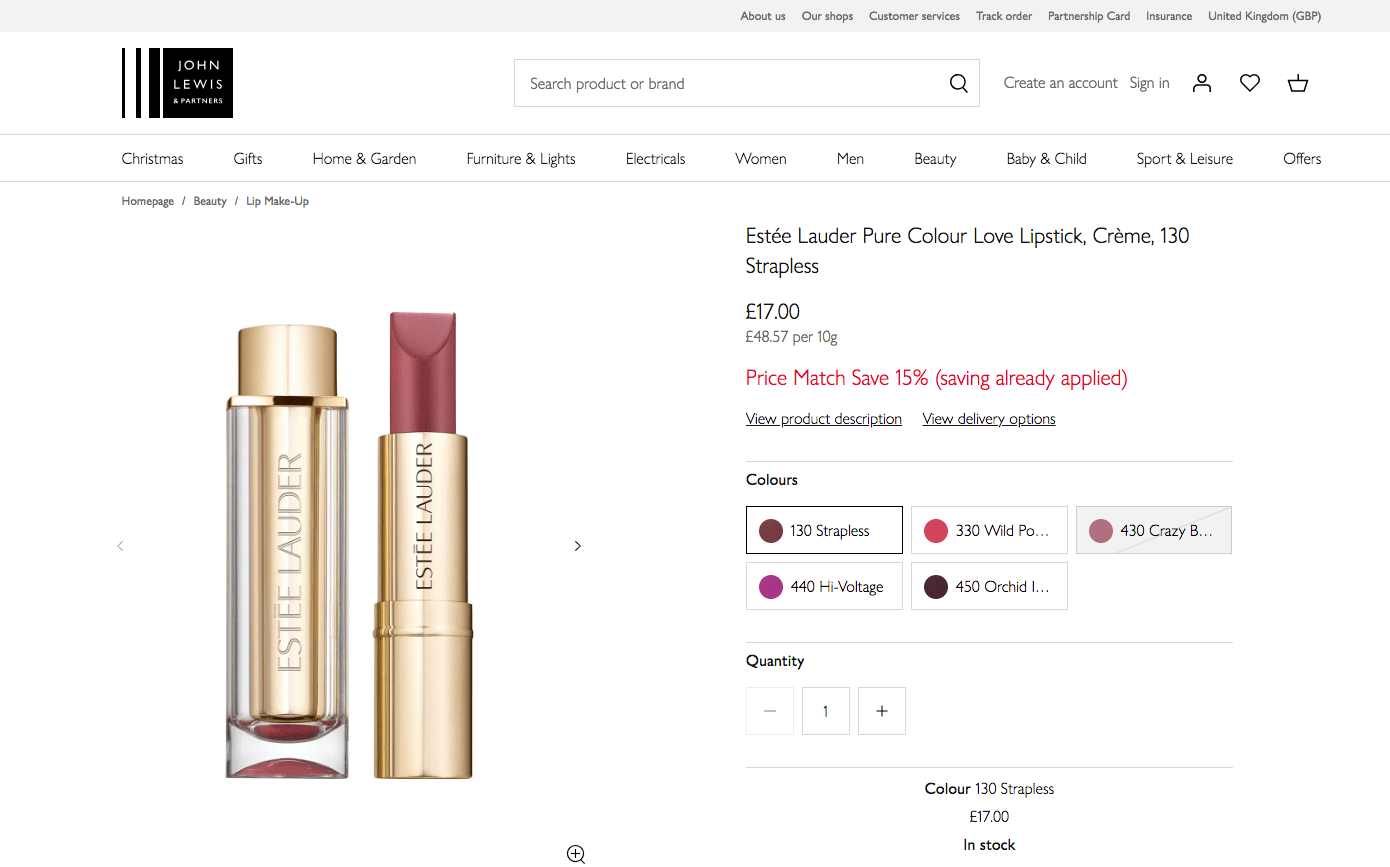 ESTEE LAUDER PURE COLOUR LOVE LIPSTICK, CRÈME, 130 STRAPLESS