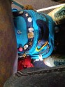 """My backpack mid-flight. People ask me why I have so many doodads on it. I shrug and say, """"I like them."""""""