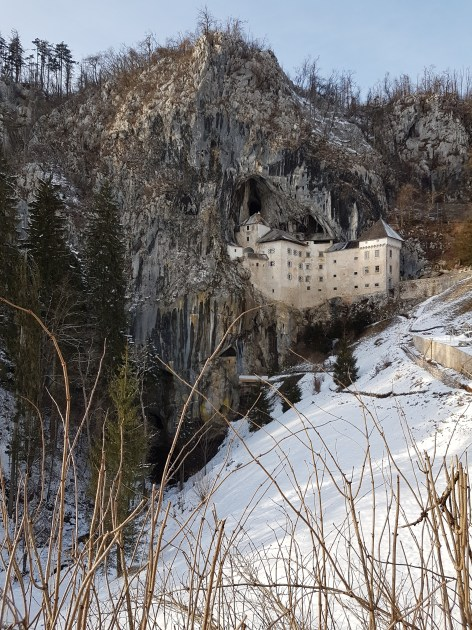 Castle in the cliff looks beautiful in the winter