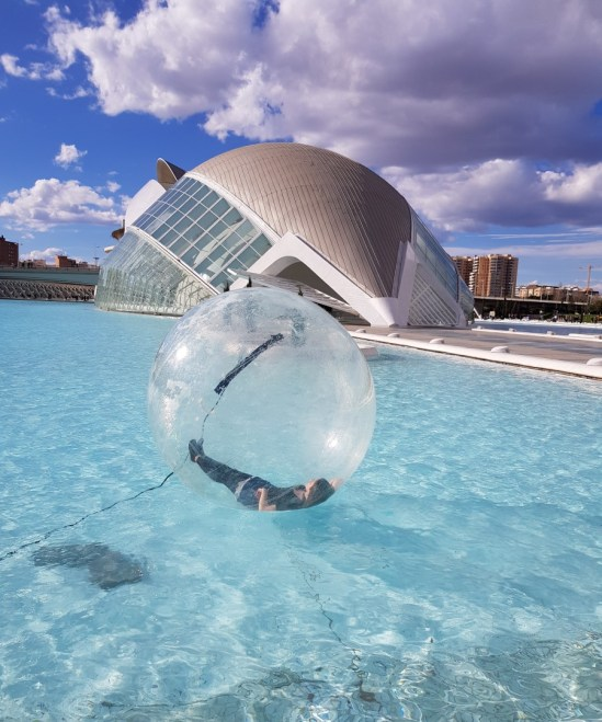 Zorbing at the City of Arts and Science