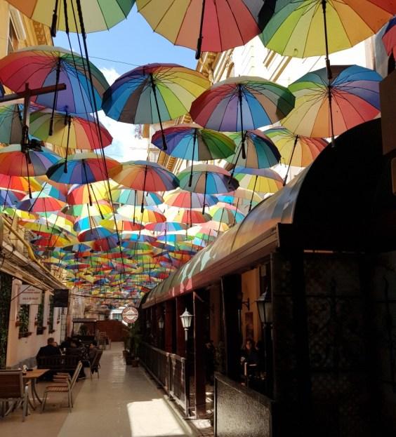 Umbrella alley in Bucharest