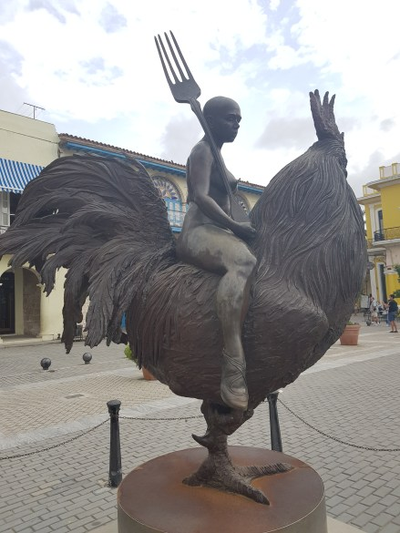 Rooster statue on the Plaza Vieja