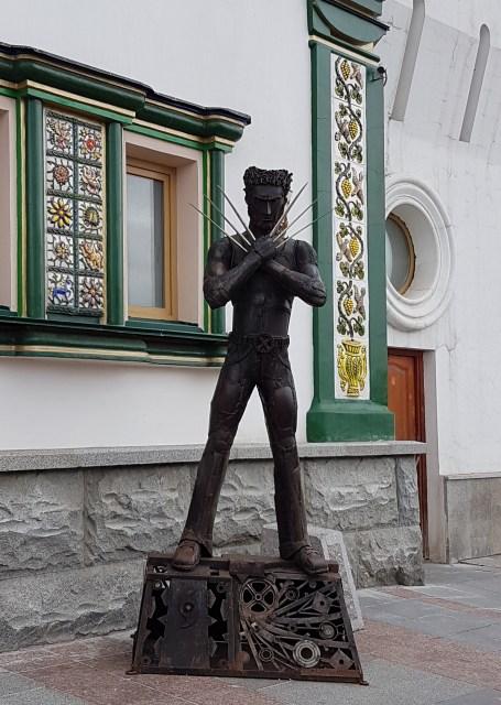 Wolverine statue at the entrance to Izmailovsky Kremlin