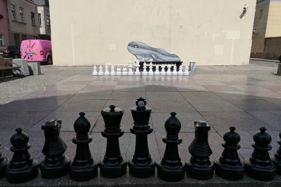 Giant chess and piano near the magic mouse
