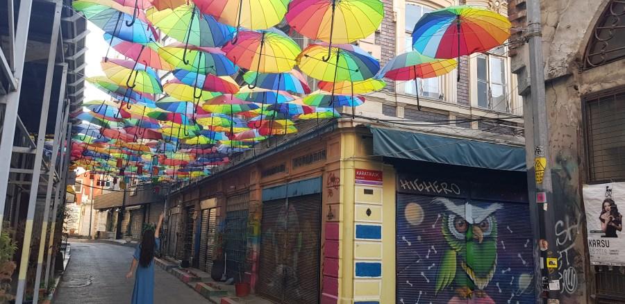 Umbrellas on Karakoy street