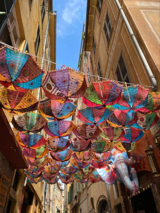 Umbrella alley in old town