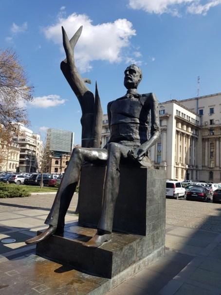 Iuliu Maniu statue in Revolution Square Bucharest