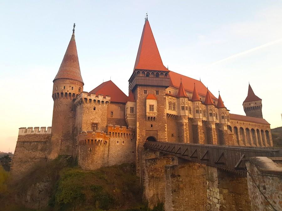 Corvin castle (Hunedora castle) in the evening
