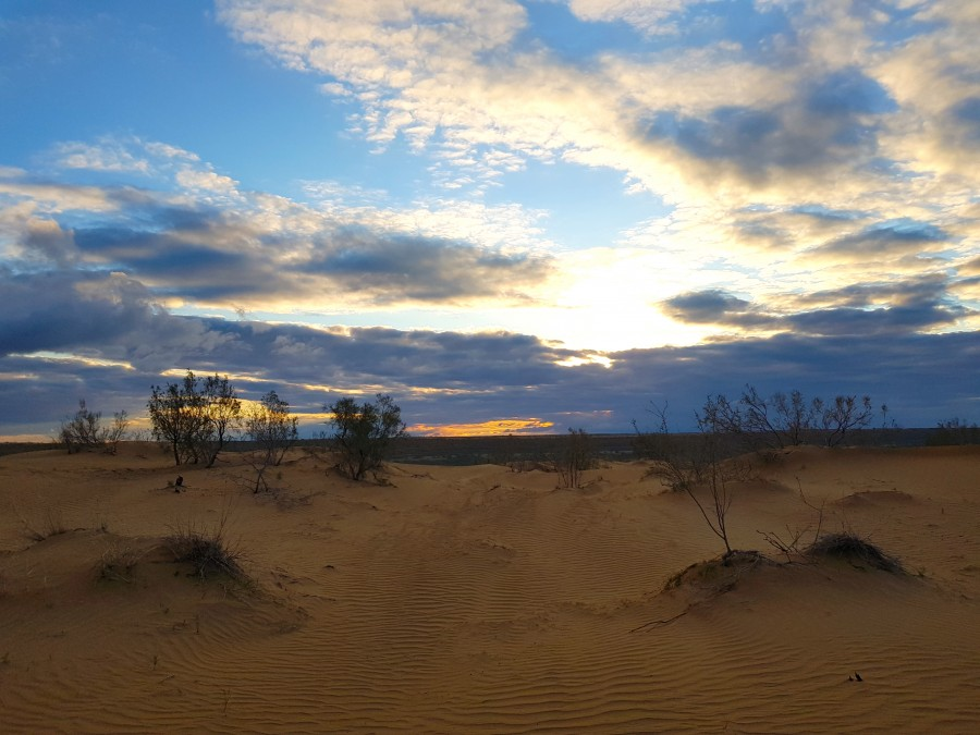Sunset at the sand dunes next to our yurt