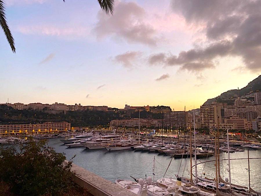 Sunset over Monaco harbour