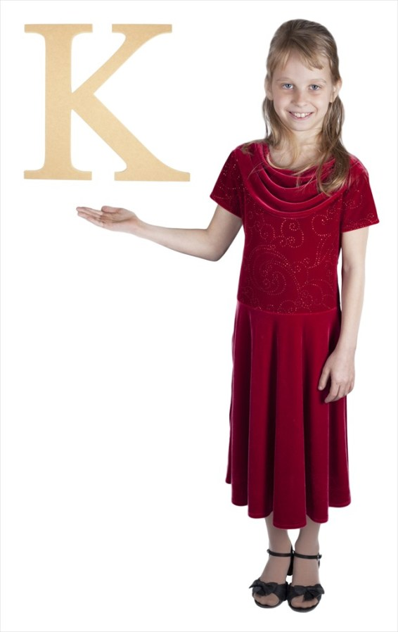 "Times New Roman 16"" Letter K"
