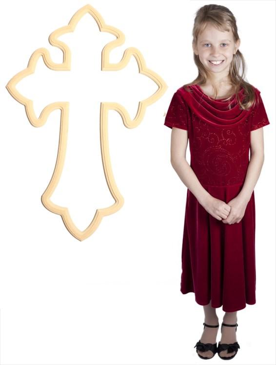Bedazzled Fleur De Lis Cross (33x23)