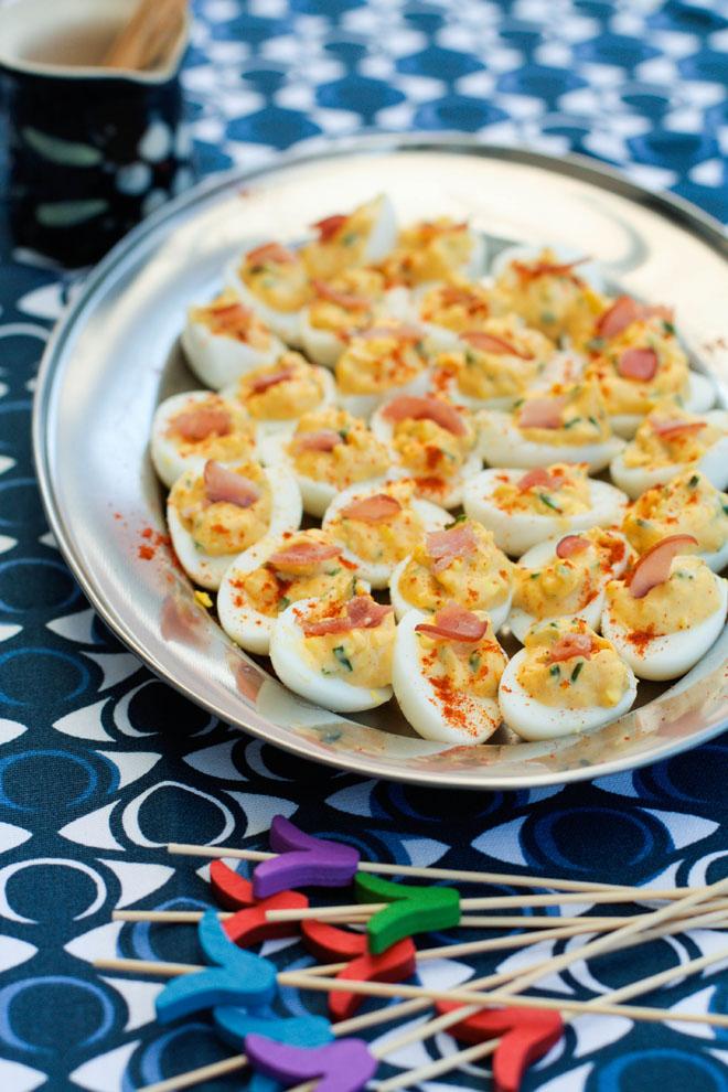 Bacon deviled eggs'