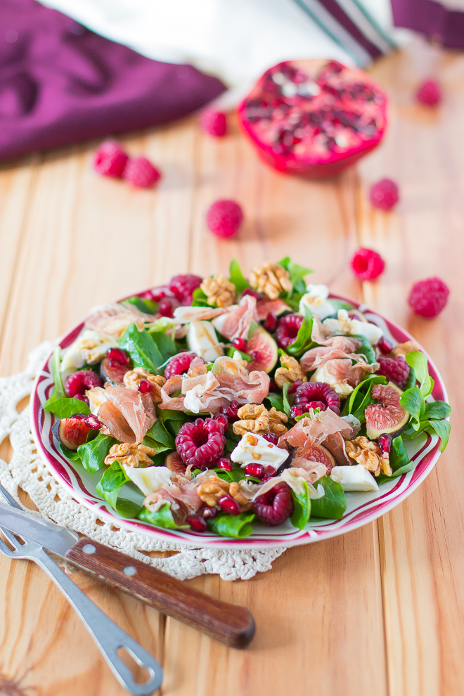 salade-jambon-figues-chevre-framboise-grenade