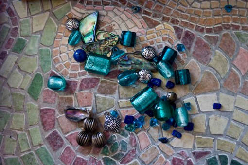 Jewellery Making Components: glass beads, paua shell, murano glass and silver Bali beads