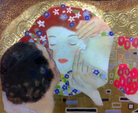 The Kiss- (A Detail) After Gustav Klimt by Deborah Lhota