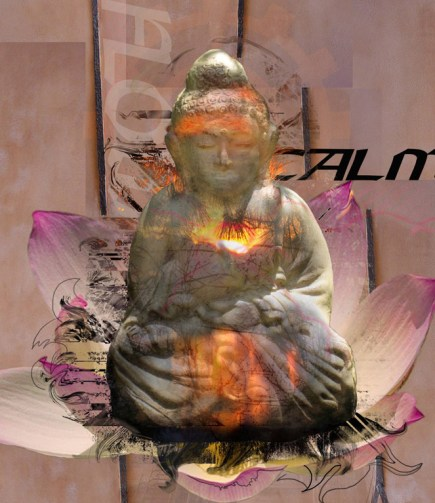 Tranquility digital print of buddha