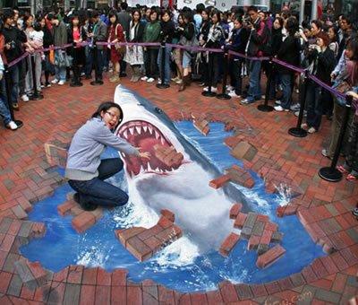 Pavement Chalk Art - The Shark