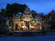 Temple complex by night.