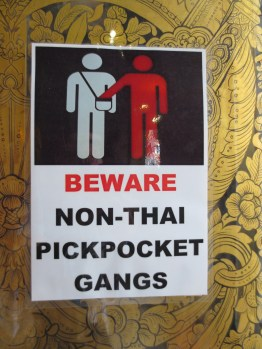 Not clear what the threat level is with Thai pickpocket gangs, but the foreign ones are apparently worthy of special notice.