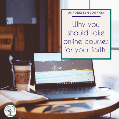 Why you should take online courses for your faith_image of a laptop, coffee and book at a table looking out a window