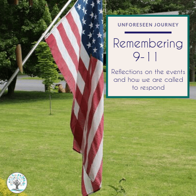 """An image of an American flag flying outside of a home. The text overlay reads """"Remembering 9-11: Reflections on the events and how we are called to respond"""""""