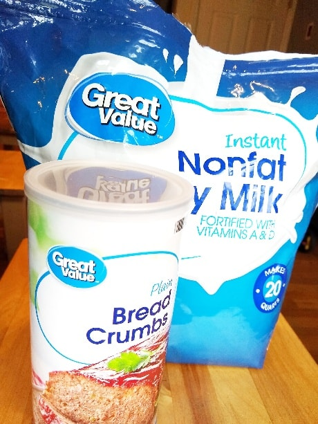 bread crumbs and dry milk from walmart pickup