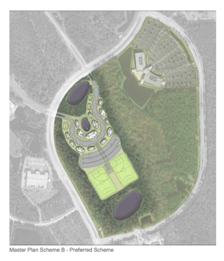Possible plan from the Greek Village Feasibility Study.