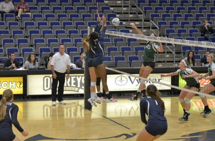 Erin Edwards (2) aids in blocking a shot from Stetson