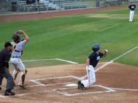 Donnie Dewees looks up after striking the ball.Photo by Camille Shaw