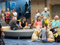 """Students take advantage of the """"PAWS Your Stress"""" event while others wait for a turn to pet and play with the service dogs in-training from Canine Companions.  Photo by Michael Herrera"""