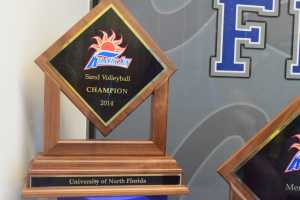 UNF sand volleyball earned the title of Atlantic Sun Champions in 2014.  Photo by Christian Ayers