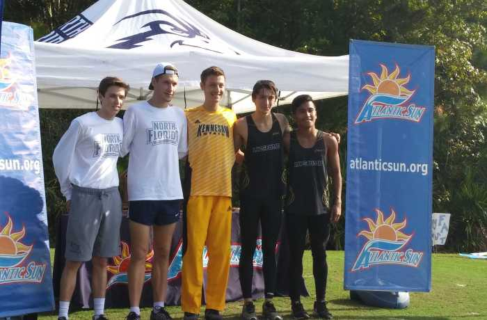 The UNF men's cross country team placed second in the A-Sun Championship 8K. Photo by Brittnay Moore
