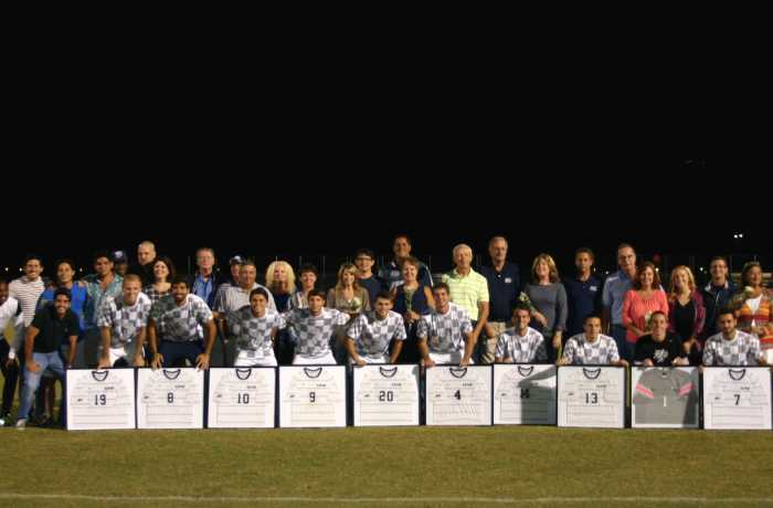 UNF's ten seniors cap off senior night with a 2-0 win.   Photo by Kimberly Appleby