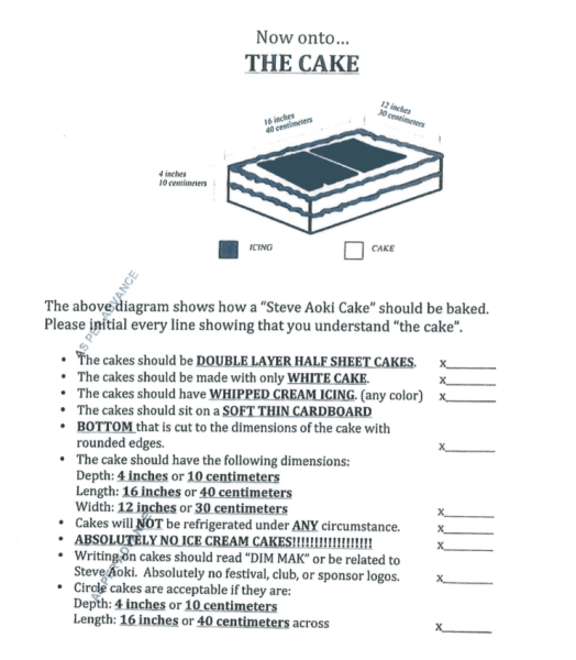 "A genuine Steve Aoki cake recipe. Note the page is stamped ""AS PER ADVANCE."" This means the university can make this happen for Aoki if... Draft contract rider courtesy Records office."